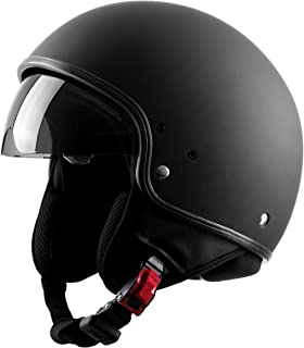 Westt Vintage Open Face Motorcycle Helmet DOT Approved with Sunshield