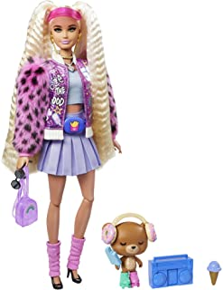 Barbie Extra Doll #8 in Pink Sparkly Varsity Jacket with Furry Arms & Pet Teddy Bear, Extra-Long Crimped Pigtails, Layered...