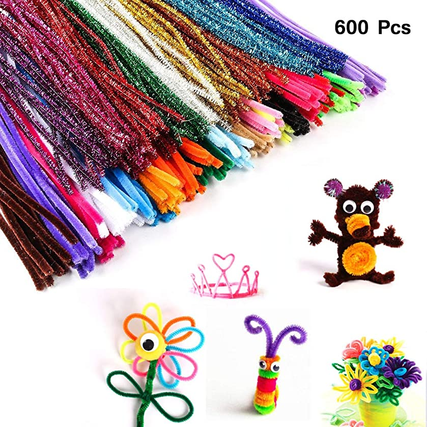 DIY for Kids Art Toy 600 Pcs Pipe Cleaners - Craft Supplies Chenille Stem (6 mm x 12 Inch, Assorted Colors),Smooth Processing at Both Ends,Safe and Humanized Design,Assorted Colors for DIY Art Craft.