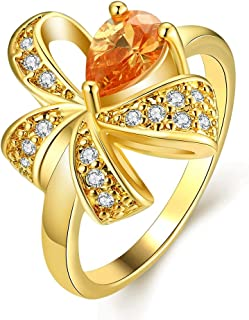 NEVI Saphire Color A5 Grade Zircon Cystals Gold Plated Brass Ring for Women and Girls (Gold)