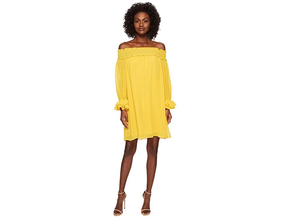 CeCe Shiloh Off the Shoulder Smocked Dress (Deep Saffron) Women