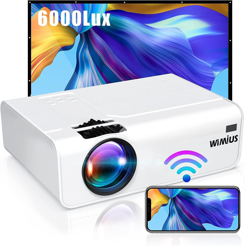 Proyector WiFi, 6000 Lúmenes WiMiUS Proyector WiFi Portátil Full HD Soporta 1080P Mini Proyector LED 90000 Horas Proyector WiFi Cine En Casa para Telefono/iPad/PC/PS5/TV Stick HDMI VGA AV TF USB