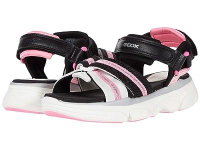 Geox Kids Sandal Lunare 1 (Little Kid/Big Kid) (Black/Pink) Girl