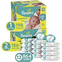 198-Count Pampers Swaddlers Size 1 Disposable Baby Diapers + 186 Count Pampers Swaddlers Size 2 Baby Diapers + 864-Count Pampers Sensitive Water-Based Baby Wipes