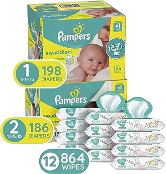 Pampers 198-Count Size 1 Diapers + 186-Count Size 2 Diapers + 864 Wipes