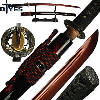 DTYES Full Handmade Japanese Samurai Katana Sword, Functional, Hand Forged, 1095/T10 Carbon Steel/Damascus Folded Steel, H...