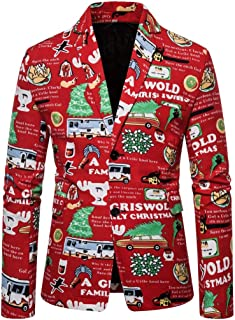 MIS1950s Funny Mens Christmas Printing Santa Suit Jacket Outerwear Turn-Down Collar Coat