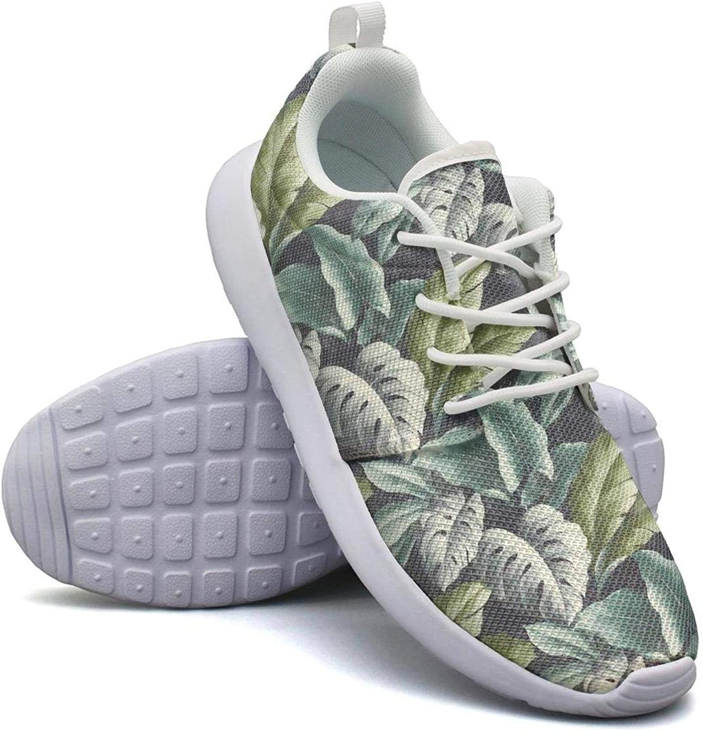 CHALi99 Womens Lightweight Mesh shoes Tropical Leaves Pattern Vintage bluee Sneakers Travel Shock Absorbing