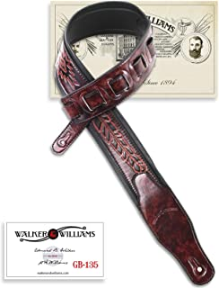 Walker & Williams GB-135 Dark Oxblood Brown Padded Strap with Native American Feather Pattern