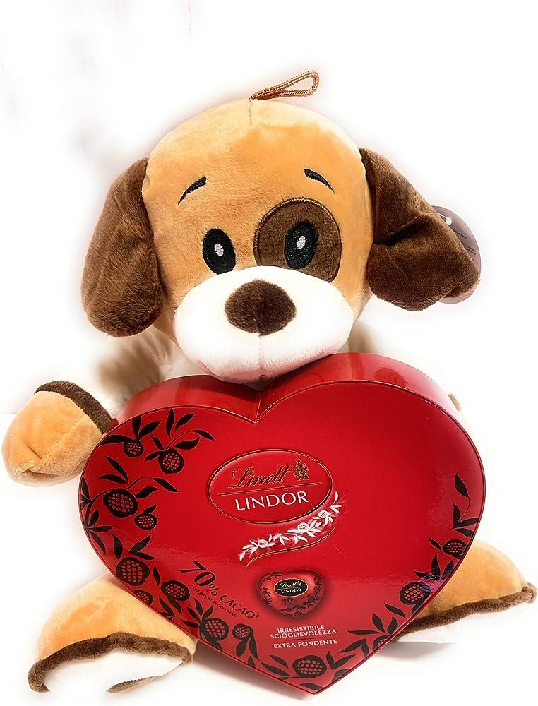 Italy,san valentino ,scatola di cioccolattini fondenti lindt lindor,piu` peluche cagnolino