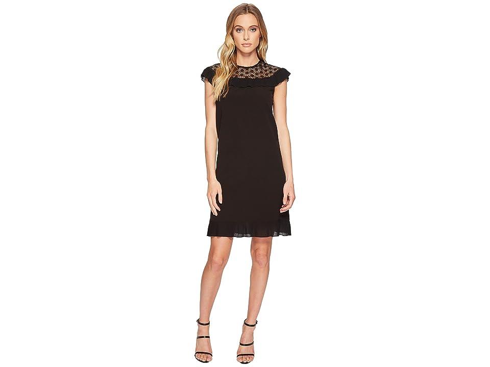 Tahari by ASL Plisse Pleat Dress (Black) Women