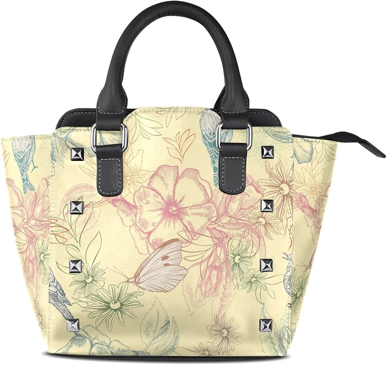 Sunlome Spring Butterflies and Birds On Apple Flowers Print Handbags Women's PU Leather Top-Handle Shoulder Bags