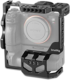 SMALLRIG Camera Cage for Sony A7R III,A7 III with VG-C3EM Vertical Battery Grip with Cold Shoe, NATO Rail, Threaded Holes ...