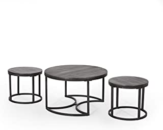 Christopher Knight Home Roberta Coffee Table Set, Gray, Pewter