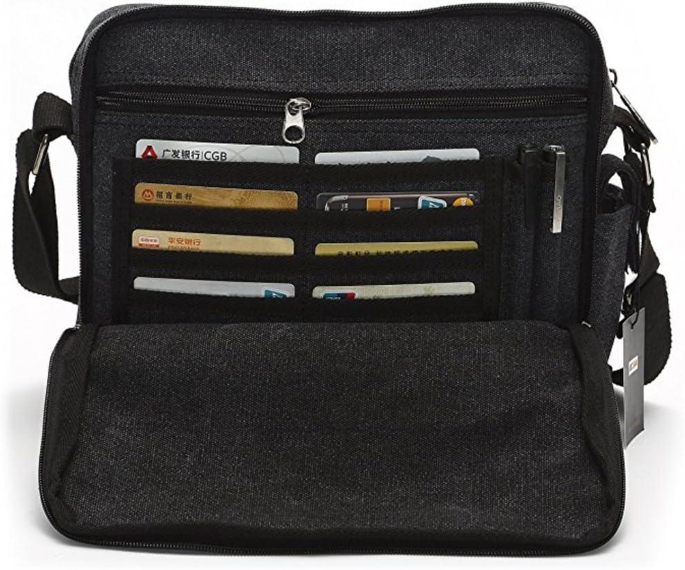Men's Multifunctional Canvas Messenger Handbag Outdoor Sports Over Shoulder Crossbody Side Bag
