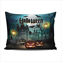 WULIHUA Pillow Covers Happy Halloween Scary Castle and Pumpkin Sofa Durable Modern Pillow Case Decorative Custom Throw Pillow Cases one Side Printed Standard 20x26 Inches