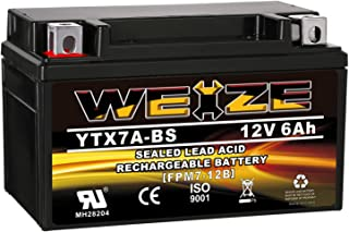 Weize YTX7A-BS High Performance - Maintenance Free - Sealed AGM Motorcycle Battery compatible with Gas Gy6 Scooter Moped 5...