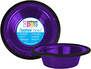 Platinum Pets 1-Cup Stainless Steel Wide Rimmed Bowl, Purple