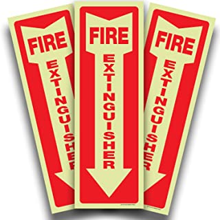 Fire Extinguisher Glow in the Dark Sticker Sign - 3 Pack 4x12 Inch - Premium Self-Adhesive Vinyl, Laminated for Ultimate U...