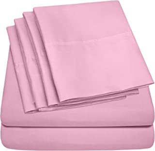 Sweet Home Collection Sheets 6 Piece 1500 Thread Count Deep Pocket Hypoallergenic Brushed Microfiber Soft and Comfortable Bedding Set, Queen, Pink