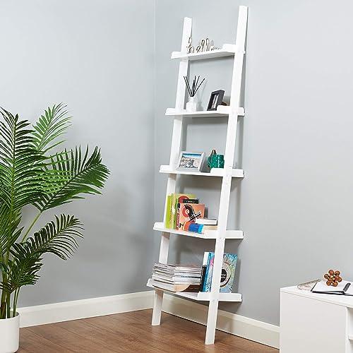 garantizado EANING LA Leaning Ladder ING LADDE Wall Shelf Shelf Shelf She - Estantería de Parojo con estantería, Color blanco  precios mas baratos