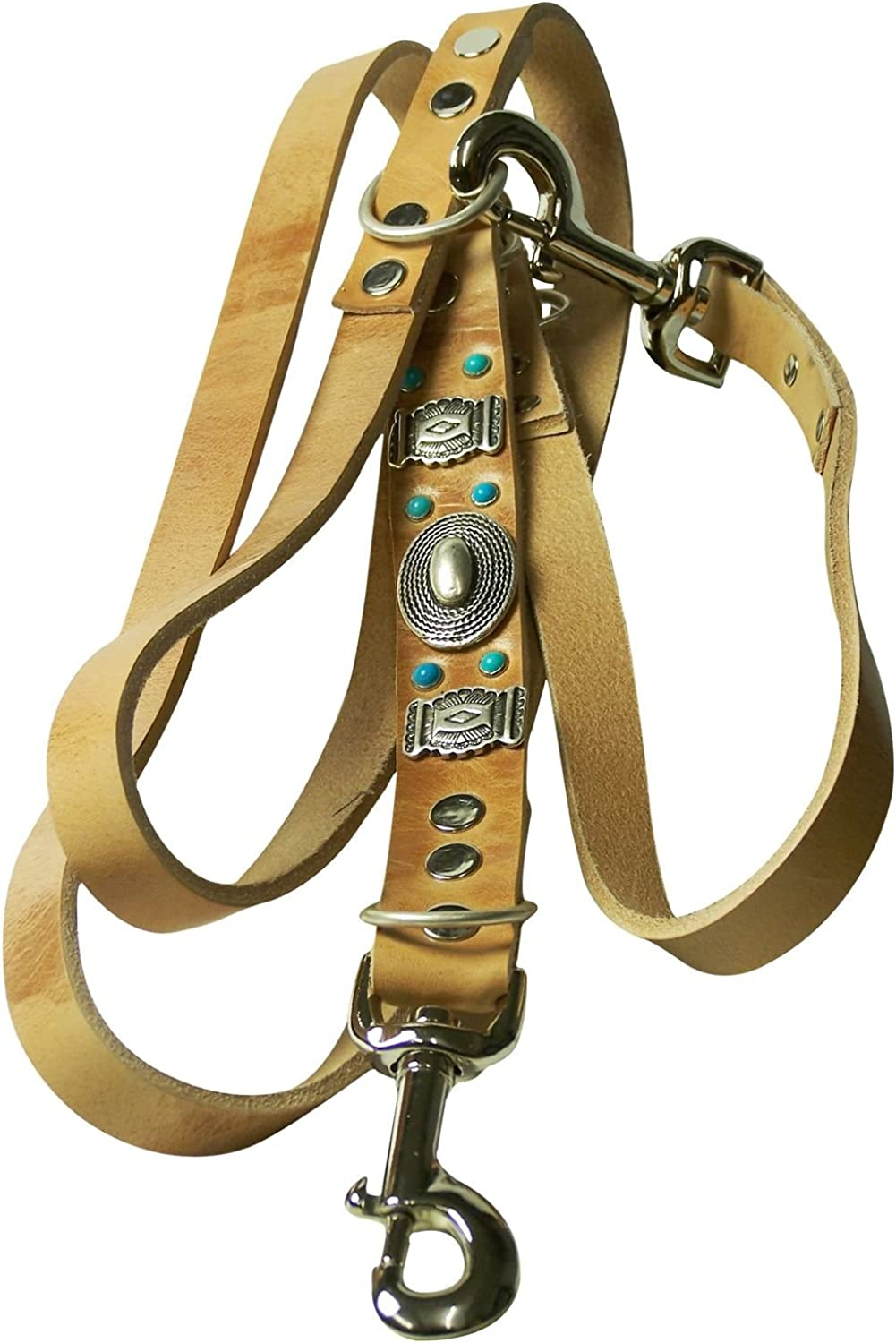 Fronhofer Natural leather dog leash 190cm (74'), Mexicoinspired, turquoise studs & concho, color Natural, Size One Size