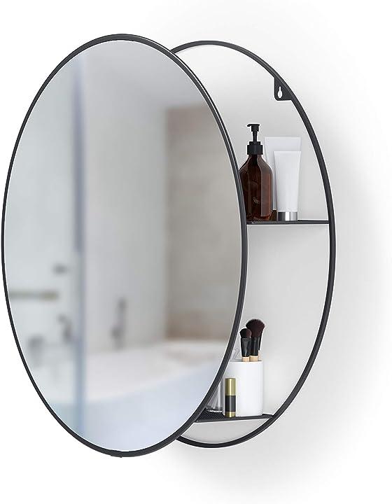 Specchio rotondo da bagno umbra , nero, 1013194-040