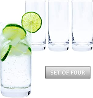 Highball Glasses (Set of 4) – Premium Clear Water Glasses, Glass Cups Set for Cocktails, Water, Juice, Beer, Mojito or Whiskey – 12oz Drinking Glasses Set for the Home, Catering Events or Party
