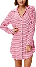 Zexxxy Nightgown Women Boyfriend Pajamas Long Sleeve Button Down Sleep Shirts Dress S-XXL