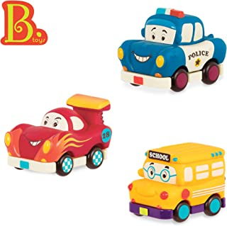 B. Toys – Mini Wheee-Ls! – Toy Police Car, Racecar, & School Bus Set – Soft Pull-Back Vehicles for Kids Ages 1+ (3Piece)