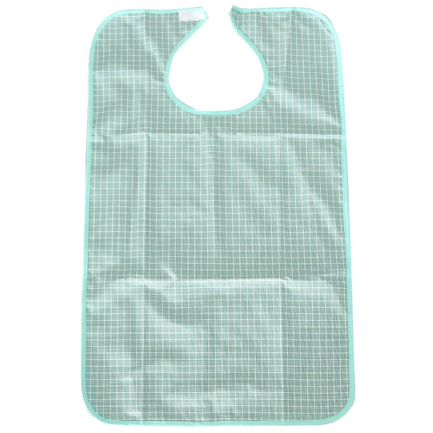 マークダウン貫通する独裁ビブ 食事 大人ビブ エプロン アダルトビブ 防水 衣類保護 障害 介護用 4色選べ - ライトグリーン
