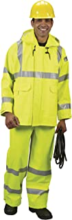 Lakeland ARC TECH Flame Resistant Polyurethane Arc Rated Rain Jacket with Zipper Front Closure, 2X-Large, Lime/Yellow (Case of 10)