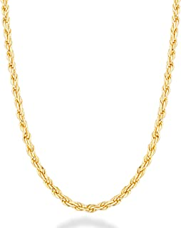"MiaBella 18K Gold Over Sterling Silver Italian 2mm Solid Diamond-Cut Rope Chain Necklace 18""-24""-30"""