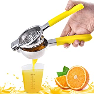 Lemon Squeezer 304 Stainless Steel Fruit Juicer Manual Juicer Citrus Press with Large Bowl and Anti-slip Silicone Handles,...