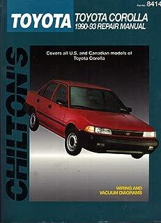 Chiltons Toyota Corolla 1990-93 Repair Manual - 1994 publication.