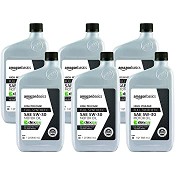 AmazonBasics High Mileage Motor Oil - Full Synthetic - 5W-30 - 1 Quart - 6 Pack