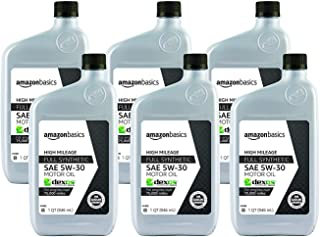 AmazonBasics High Mileage Motor Oil, Full Synthetic, SN Plus, dexos1-Gen2, 5W-30, 1 Quart, 6 Pack