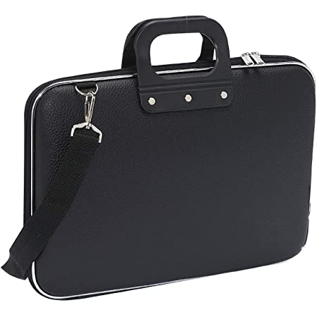 ShopHere Unisex Soft Shell Durable PU Leather Durable Laptop Messenger Briefcase Carrying Case with Shoulder Strap for 15.6 in Laptops and Notebooks (Black)