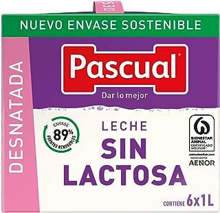 Pascual Leche Sin Lactosa Desnatada - Paquete de 6 x 1000 ml