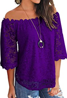 9b2aa72a1 MIHOLL Women's Lace Off Shoulder Tops Casual Loose Blouse Shirts