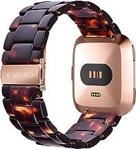 V-MORO Compatible Fitbit Versa/Versa 2/Versa Lite Band Women- Resin Versa Wristbands Replacement Bracelet Strap Metal Stainless Steel Rose Gold Buckle for Fitbit Versa Smartwatch -Tortoise-Tone