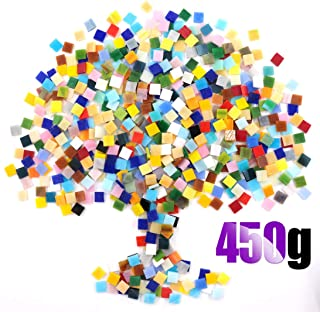Swpeet 1 Pound Mosaic Tiles Mixed Color Mosaic Glass Pieces with Organizing Container, Genuine Mosaic Tiles Glass Pieces Mosaic Perfect for Home Decoration Crafts Supply (Panchromatic, Square)
