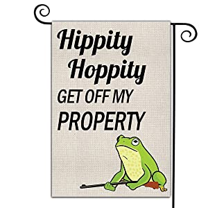 Welcome Garden Flags Courtyards Double Sided Home Decor Yard Flag Hippity Hoppity Get Off My Property Garden Flag Personalized Seasonal Outdoor Indoor Banner Holiday Burlap Flag 12.5 x 18 Inch