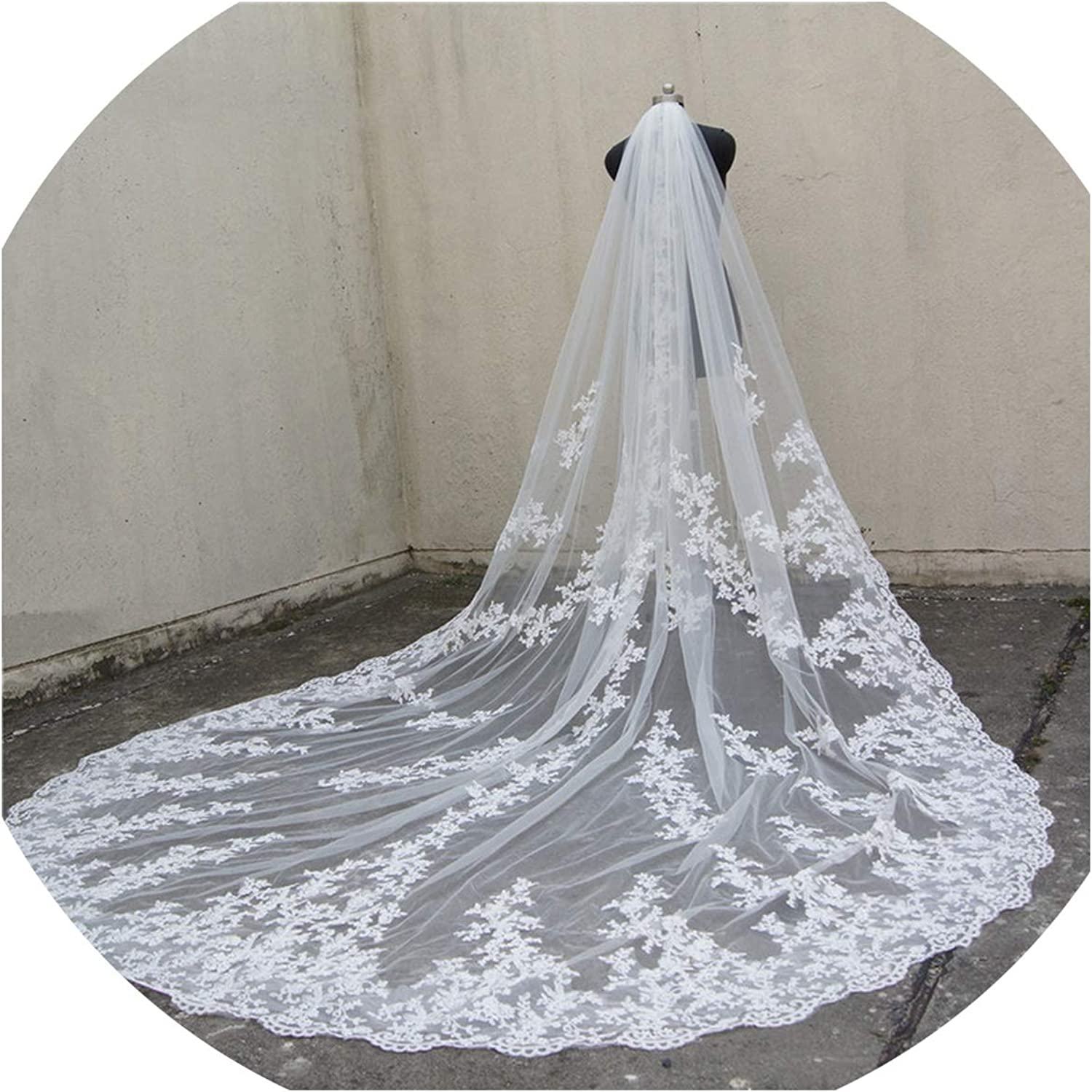 118  Long, 110  Wide 1 Layer Lace Applique Wedding Veil Cathedral Length Bridal Veil with Comb,WHITE,300cm