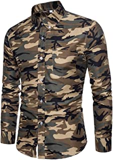 vermers Men Shirts Men's Casual Camouflage Print Pullover Long Sleeve T-Shirt Top Blouse