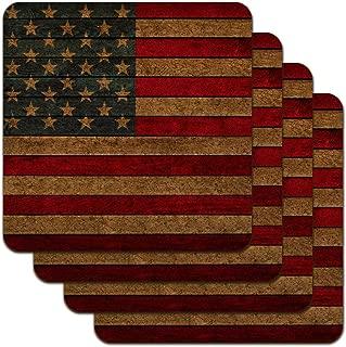 Rustic American Flag Wood Grain Design Low Profile Novelty Cork Coaster Set