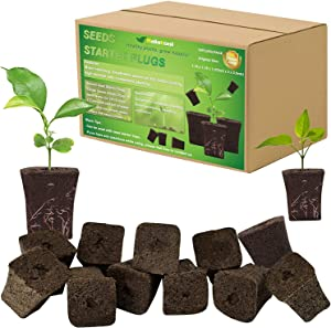 50 Pack Seed Starter Rapid Rooter Plugs- Organic Plant Starters Sponges Root Growth Plugs for Seed Starting, Hydroponics Supplies with 100 Pcs Labels