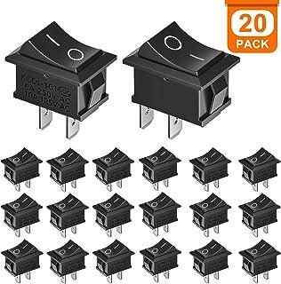 XCOZU 20 PCS Interruptor de Boton ON OFF, Interruptores de Encendido/Apagado Automático con Interruptor SPST para Coche, Barco, Camión, Remolque