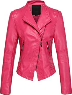 chouyatou Women's Casual Collarless Cropped Pu Leather Biker Jacket