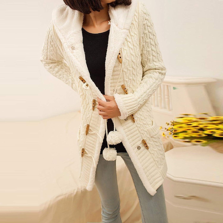 Kobay-Damen Winter Jacke Pullover Mantel Hoodie Winterparka Kurz Jeansjacke Mantel Baumwolljacke Winterjacke Cardigan mit Kapuze Weiß